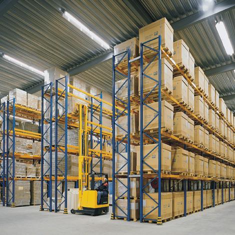 Palettenregal Typ MPB. 4 Felder, Regalhöhe bis 4500mm, Fachlast 1000 kg
