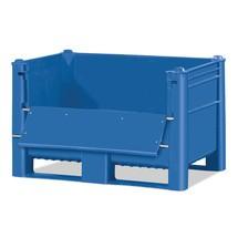 Palletbox Blue met klep. Inhoud 500 of 600 liter