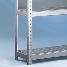 Pannello in acciaio per scaffalatura a campata larga META, con pianetti in acciaio, portata per piano 500 kg