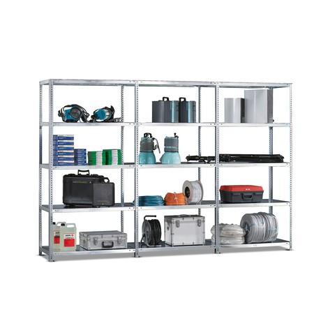 Paquete completo de estantería de cargas pequeñas META con sistema atornillado, carga por estante 230 kg y galvanizada