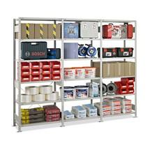 Paquete completo de estantería de cargas pequeñas SCHULTE, carga por estante 150 kg, gris claro