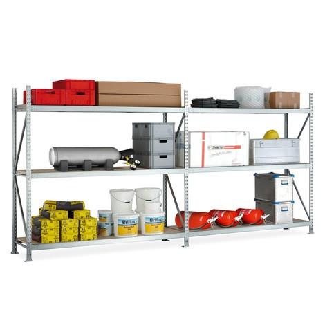 Paquete completo estantería ancha META, con baldas de aglomerado, carga por estante 600 kg