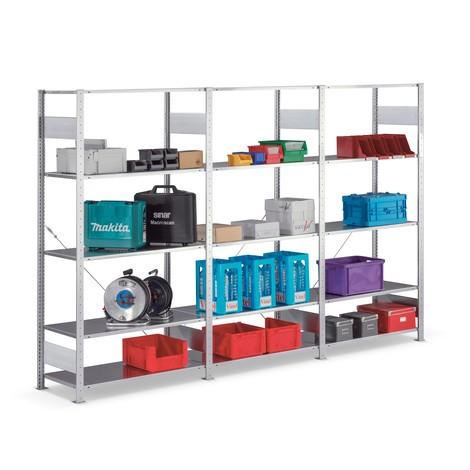 Paquete completo estantería de cargas pequeñas META con sistema de encajado, carga por estante de 80 kg y galvanizada
