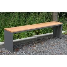 Parkbank met zitstroken gemaakt van echt Garapa hout