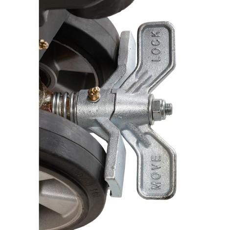 Parkeringsbremse til sakseløfteren Jungheinrich AMX I15e i rustfrit AISI 316 stål, til styrehjul i massiv gummi