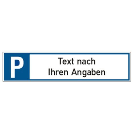 Parkplatzschild, länglich, mit Text nach Wunsch