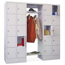 Penderie à casiers verrouillables PAVOY, fermeture à pêne tournant, 2x10compartiments, HxlxP 1850x1800x500mm