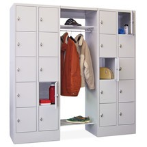 Penderie à casiers verrouillables PAVOY, fermeture à pêne tournant, 2x10compartiments, HxlxP 1850x2200x500mm