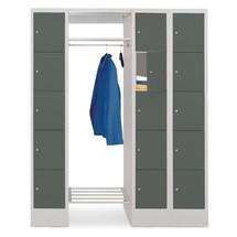 Penderie à casiers verrouillables PAVOY, fermeture à pêne tournant, 3x5compartiments, HxlxP 1850x1500x500mm