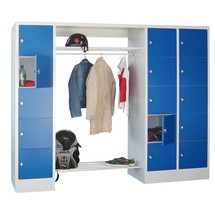 Penderie à casiers verrouillables PAVOY, fermeture à pêne tournant, 3x5compartiments, HxlxP 1850x1800x500mm