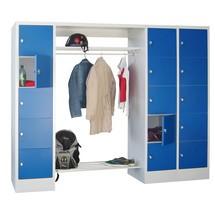 Penderie à casiers verrouillables PAVOY, fermeture à pêne tournant, 3x5compartiments, HxlxP 1850x2300x500mm