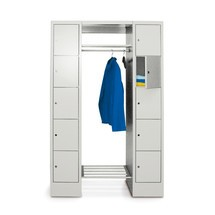Penderie à casiers verrouillables PAVOY, serrure à cylindre, 5compartiments à gauche, HxlxP 1850x870x500mm