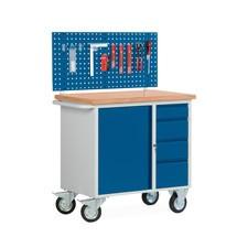 Petit établi compact avec armoire à porte battante + tiroirs + panneau mural multi-usages, mobile