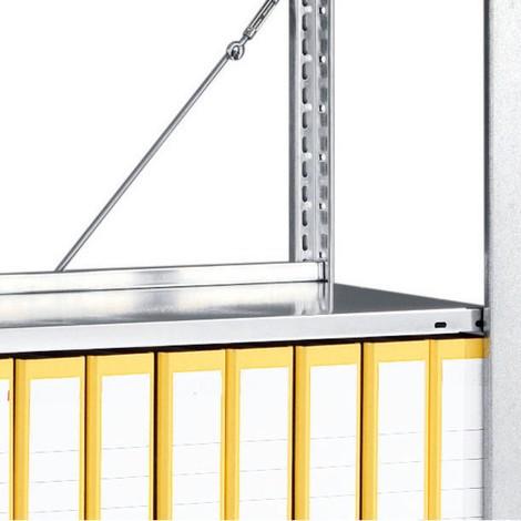 Piano base supplementare, zincato, per scaffalatura per documenti META, monofronte, grigio chiaro
