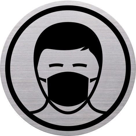 """Piktogramm """"Mund-Nasen-Schutz tragen"""", Edelstahl"""