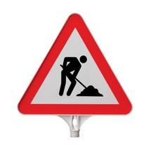 placa de sinalização Construção, Triângulo
