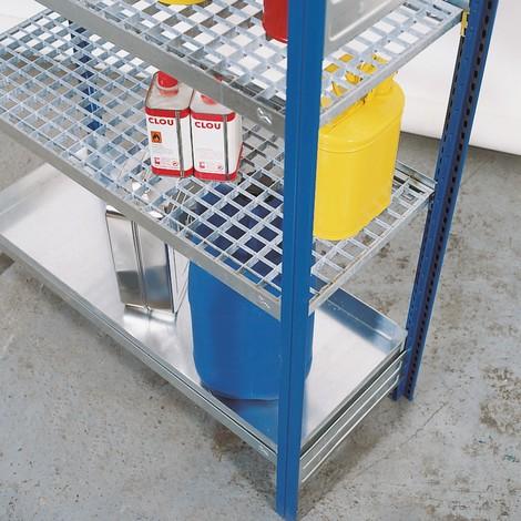 Plan de stockage pour rayonnage à matières dangereuses asecos® pour liquides dangereux pour les eaux et inflammables