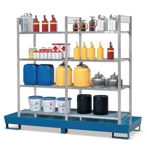 Plan de stockage pour rayonnage à matières dangereuses asecos® pour liquides dangereux pour les eaux, inflammables, avec cuve stationnaire