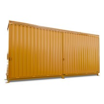 Plankbak voor 12x KTC/IBC, 2 niveaus, 2 schuifdeuren, geleiderail