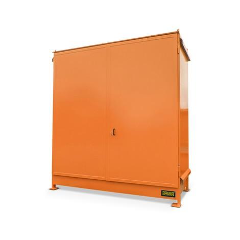 Plankbak voor 4x KTC/IBC, 2 niveaus, 2 dubbele deuren