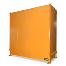 Plankbak voor 6x KTC/IBC, 2 niveaus, 2 scharnierende deuren
