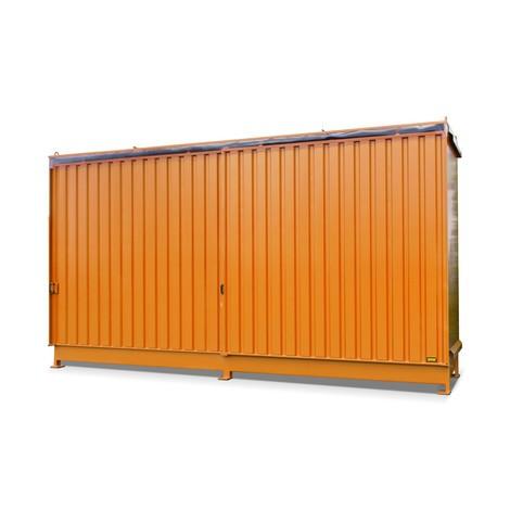 Plankbak voor 8x KTC/IBC, 2 niveaus, 2 schuifdeuren