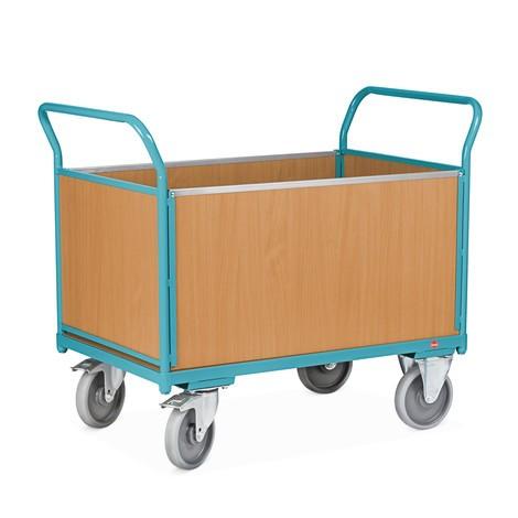 Plateau trolley Ameise®, 4-zijdig met houten wanden