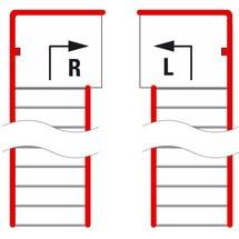Platforma schodowa dla systemu modułowego platformy magazynowej, wyjście na lewo