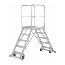 Platformladder HYMER ® met platformleuning + wielen. Aan twee zijden oploopbaar