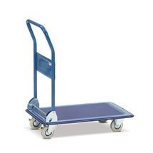 Platformwagen BASIC met laadvlak van plaatstaal. Capaciteit 150/250 kg, blauw