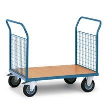 Platformwagen fetra® met houten laadvlak + 2 roosterwanden. Capaciteit tot 500kg