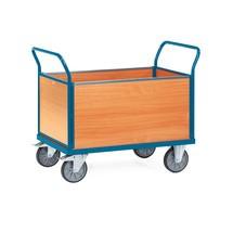 Platformwagen fetra® met houten laadvlak + 4 houten wanden. Cap. tot 500kg