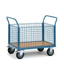 Platformwagen fetra® met houten laadvlak + 4 roosterwanden. Capaciteit tot 500kg