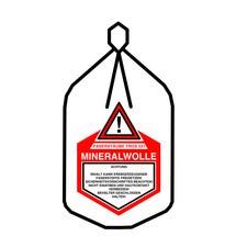 Platte zak minerale wol, met koord en sluitband