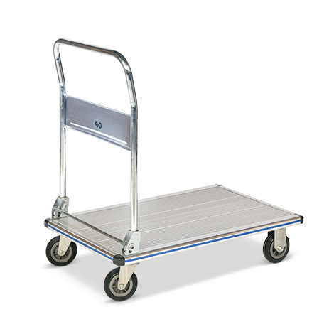 Plattformwagen BASIC aus Aluminium. Fläche 74x48cm, Tragkraft 150 kg