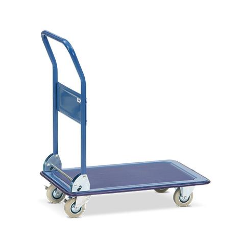 Plattformwagen BASIC mit Stahlblechfläche. Tragkraft 150/250kg, blau