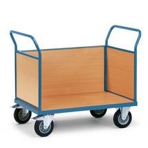 Plattformwagen fetra®, 3-seitig mit Holzwänden