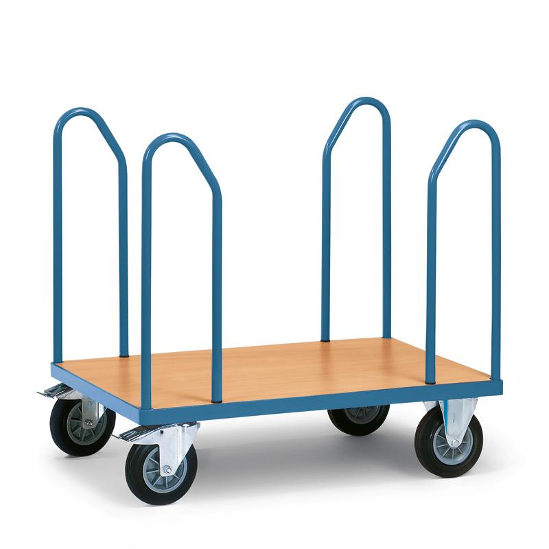 Plattformwagen fetra®. 4 Seitenbügeln + Holzfläche. Tragkraft bis 500kg