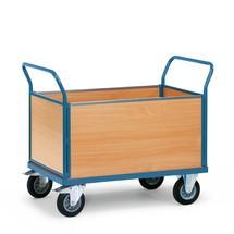 Plattformwagen fetra®, 4-seitig mit Holzwänden