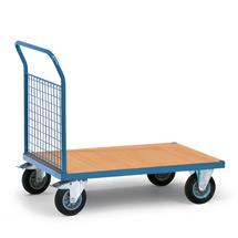 Plattformwagen fetra® mit Holzfläche + 1 Gitterwand. Tragkraft bis 500kg