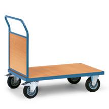 Plattformwagen fetra® mit Holzfläche + 1 Holzwand. Tragkraft bis 500kg