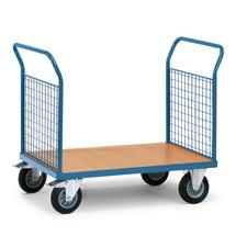 Plattformwagen fetra® mit Holzfläche + 2 Gitterwände. Tragkraft bis 500kg