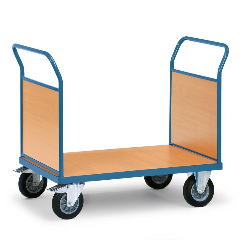 Plattformwagen fetra® mit Holzfläche + 2 Holzwände. Tragkraft bis 500kg