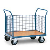 Plattformwagen fetra® mit Holzfläche + 3 Gitterwände. Tragkraft bis 500kg