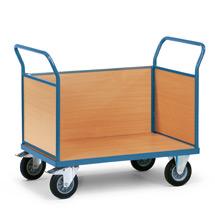 Plattformwagen fetra® mit Holzfläche + 3 Holzwände. Tragkraft bis 500kg