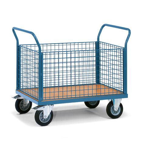 Plattformwagen fetra® mit Holzfläche + 4 Gitterwände. Tragkraft bis 500kg
