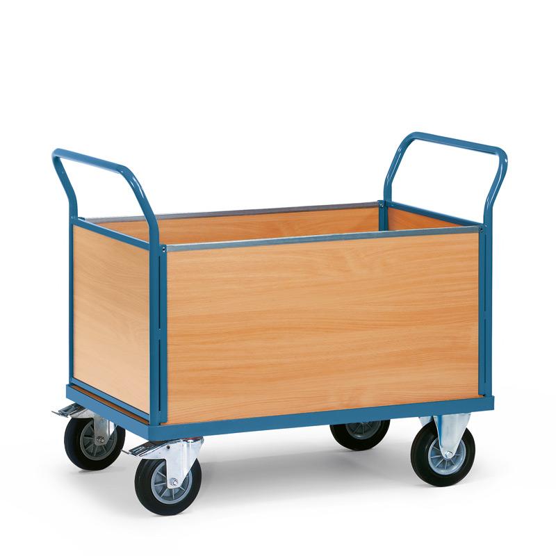 Plattformwagen fetra® mit Holzfläche + 4 Holzwände. Tragkraft bis 500kg