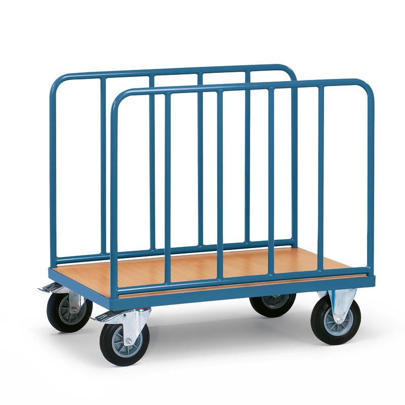 Plattformwagen fetra® mit Längswänden und Holzfläche. Tragkraft 500kg