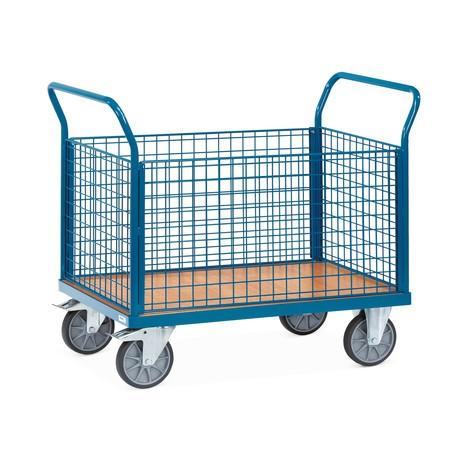 Plošinový vozík fetra®, 4-stranný s mřížkovými stěnami