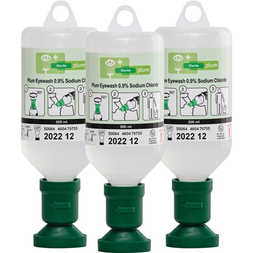 plum Augenspülflasche, 500 ml, 3 Jahre (ungeöffnete Flasche), DIN EN15154-4, 3 St./Kt.